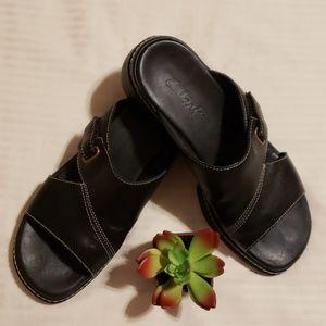 Clarks > Black Wedge Heel Sandles Size 6.5